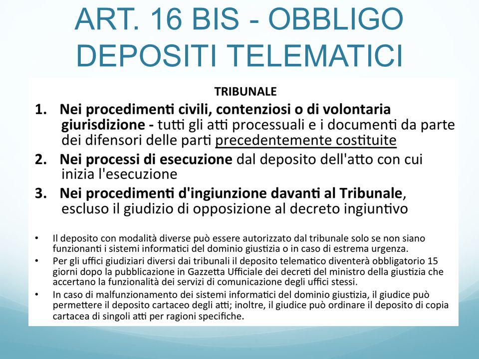 ART. 16 BIS - OBBLIGO DEPOSITI TELEMATICI