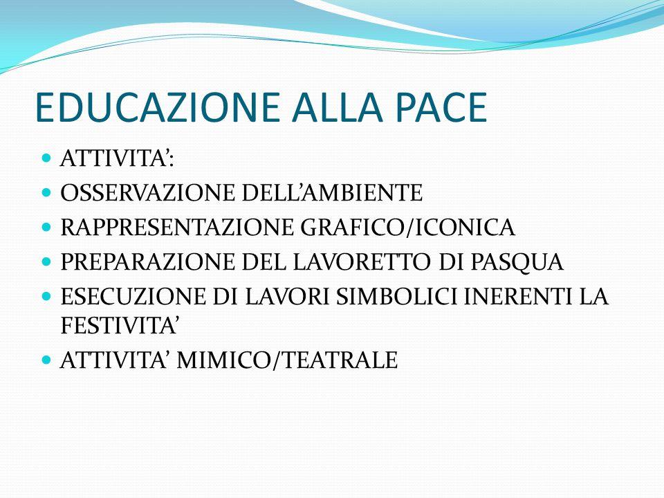 EDUCAZIONE ALLA PACE ATTIVITA': OSSERVAZIONE DELL'AMBIENTE
