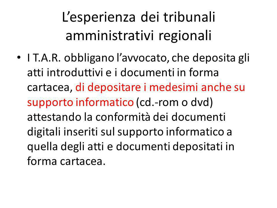 L'esperienza dei tribunali amministrativi regionali