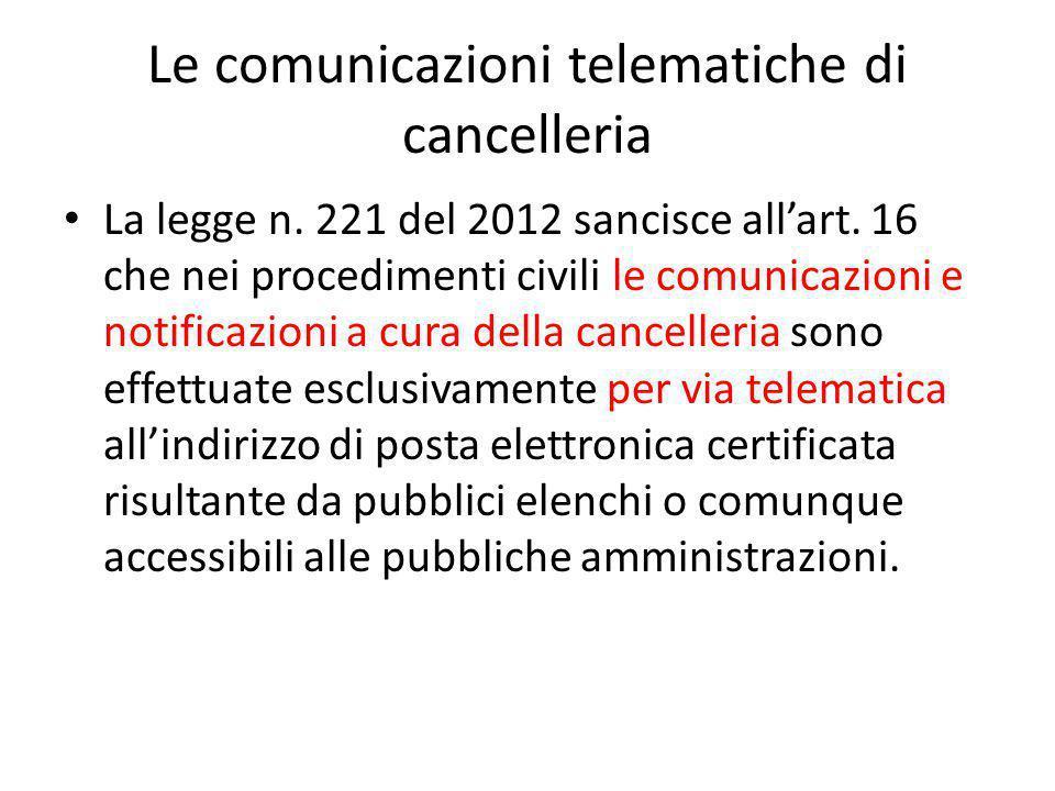 Le comunicazioni telematiche di cancelleria