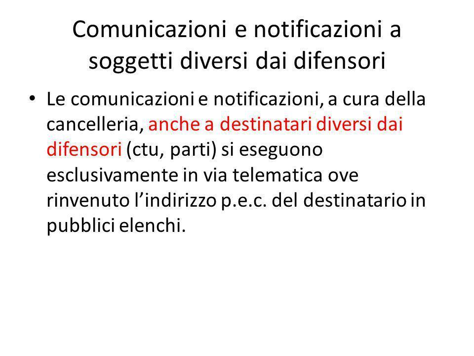 Comunicazioni e notificazioni a soggetti diversi dai difensori