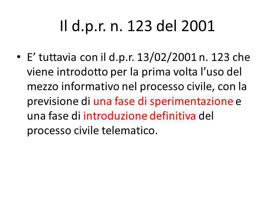 Il d.p.r. n. 123 del 2001