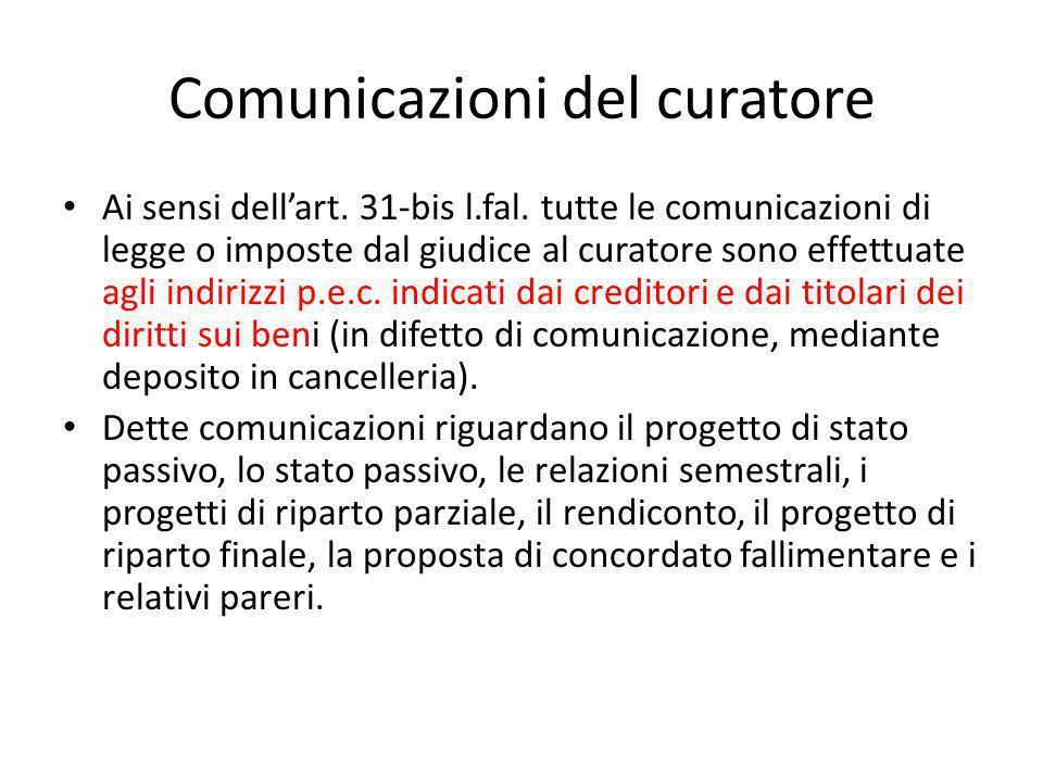 Comunicazioni del curatore