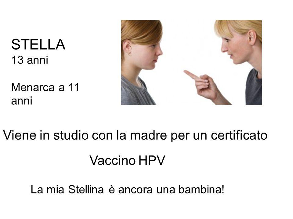 STELLA Viene in studio con la madre per un certificato Vaccino HPV