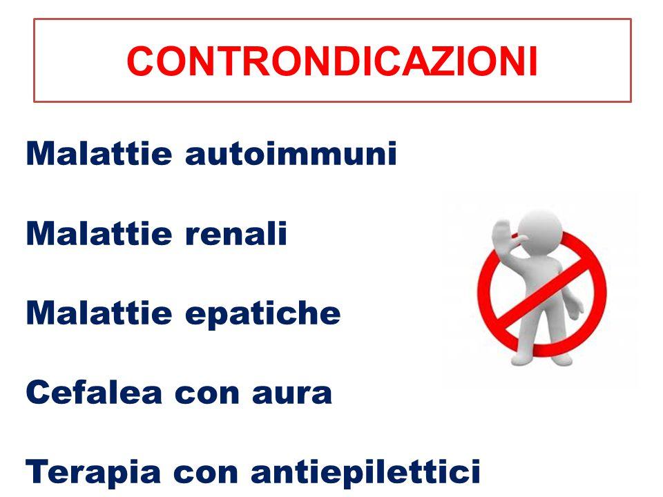 CONTRONDICAZIONI Malattie autoimmuni Malattie renali Malattie epatiche