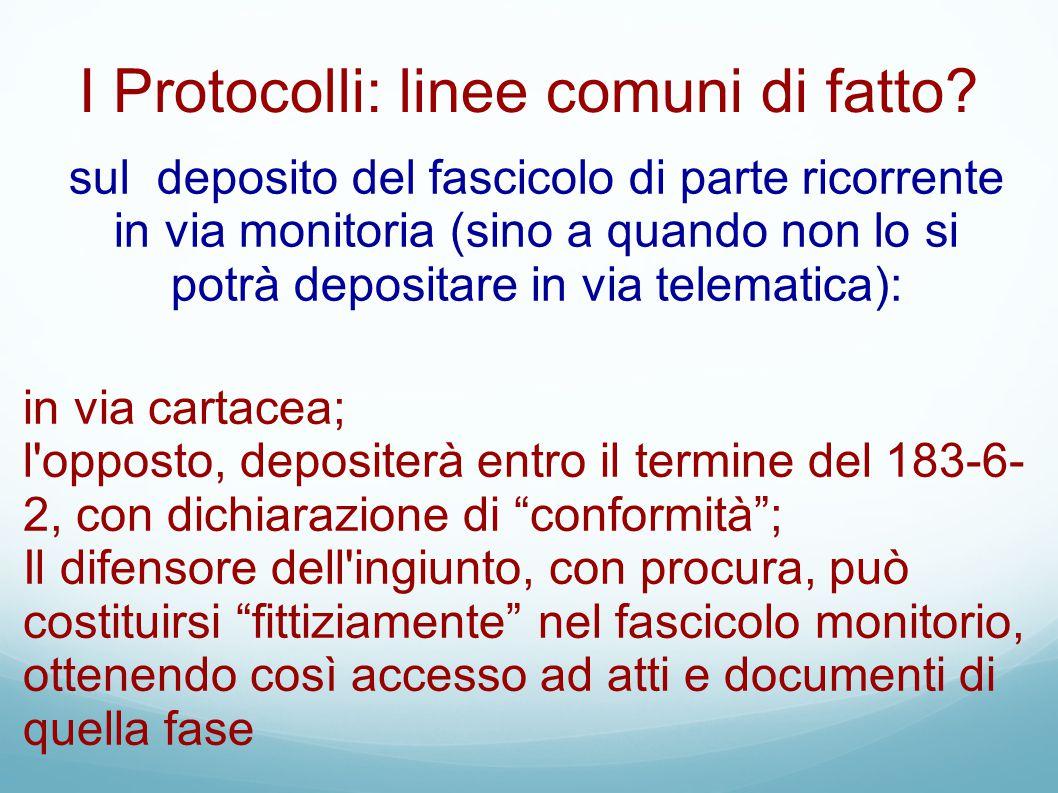 I Protocolli: linee comuni di fatto
