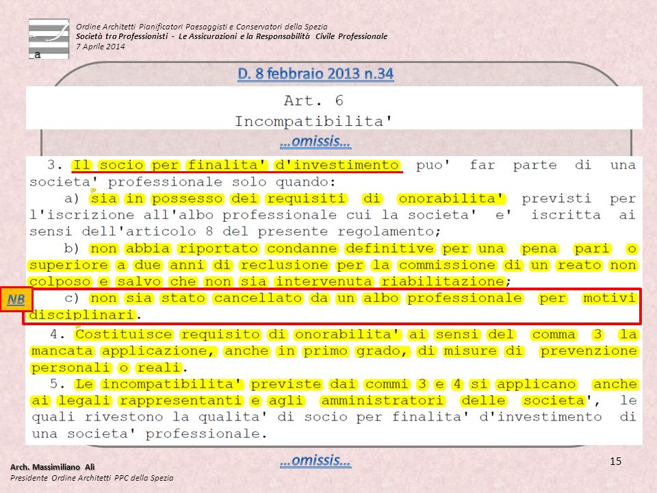 D. 8 febbraio 2013 n.34 …omissis… …omissis… NB 15