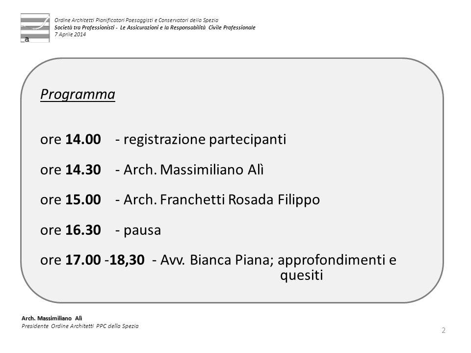 ore 14.00 - registrazione partecipanti