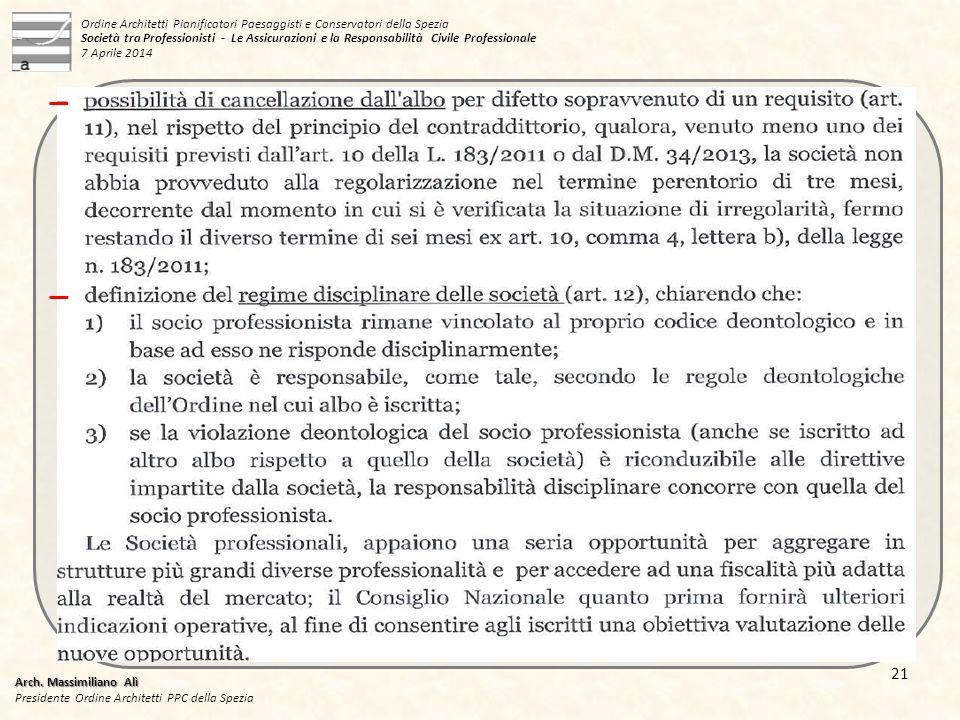 Ordine Architetti Pianificatori Paesaggisti e Conservatori della Spezia Società tra Professionisti - Le Assicurazioni e la Responsabilità Civile Professionale 7 Aprile 2014