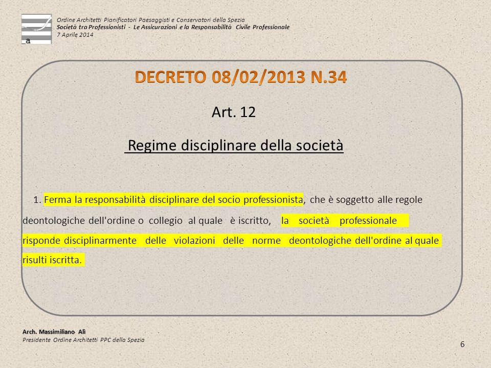 Regime disciplinare della società