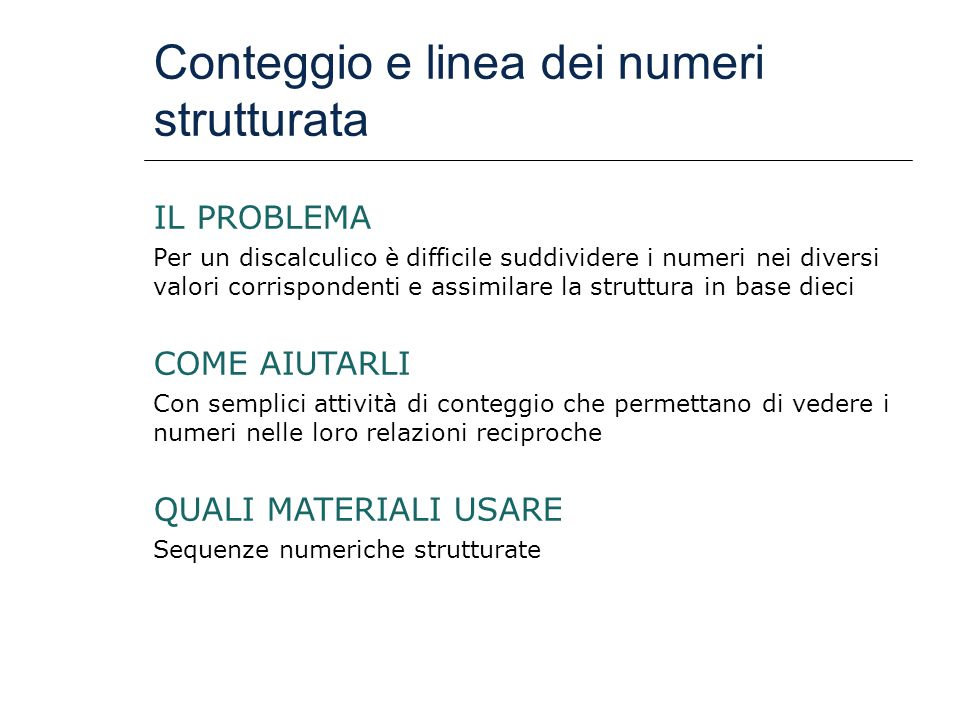 Conteggio e linea dei numeri strutturata