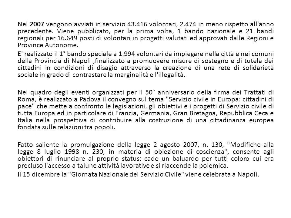 Nel 2007 vengono avviati in servizio 43. 416 volontari, 2