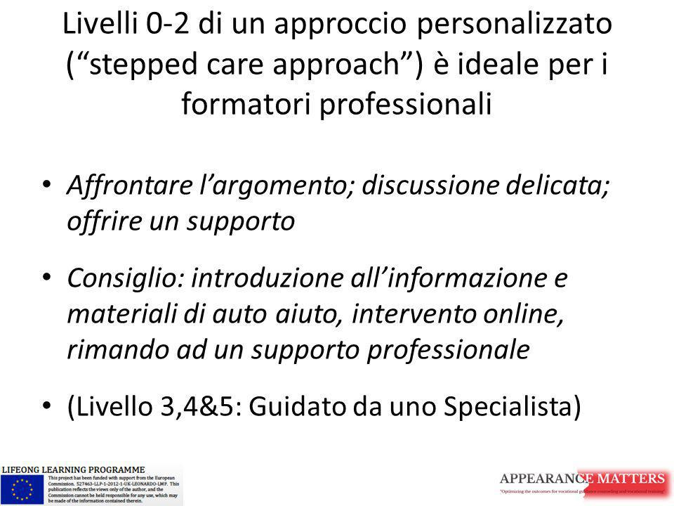 Livelli 0-2 di un approccio personalizzato ( stepped care approach ) è ideale per i formatori professionali
