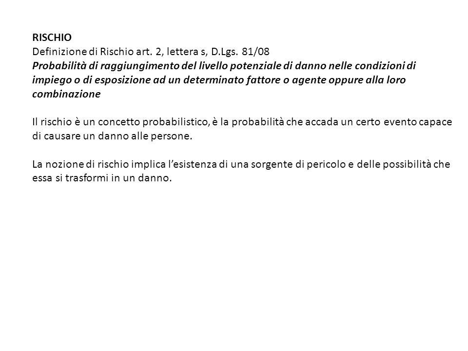 RISCHIO Definizione di Rischio art. 2, lettera s, D.Lgs. 81/08. Probabilità di raggiungimento del livello potenziale di danno nelle condizioni di.