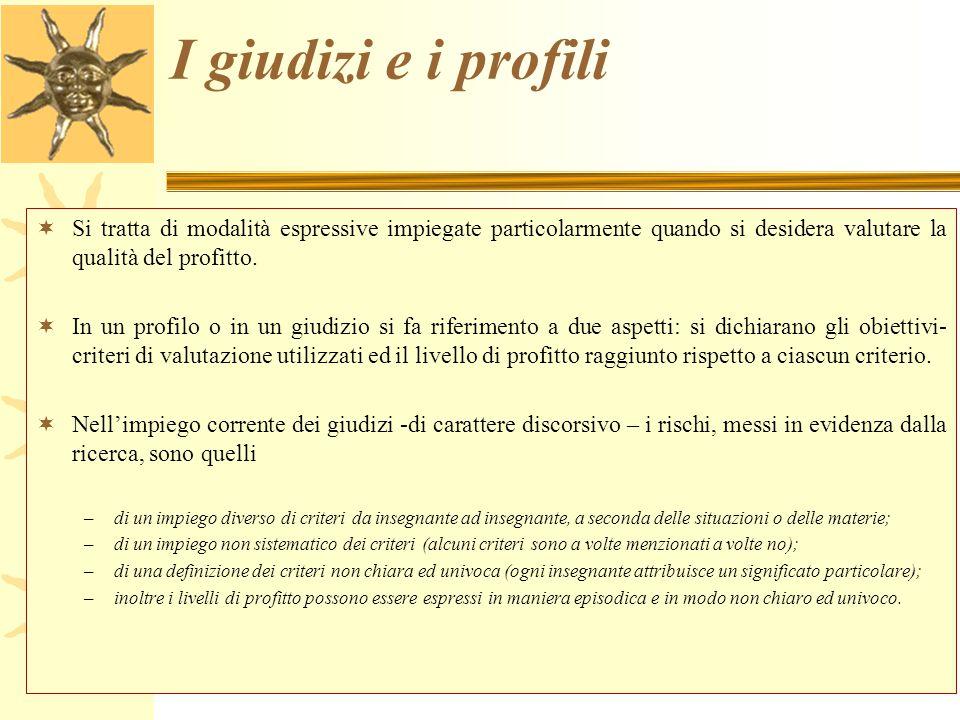 I giudizi e i profili Si tratta di modalità espressive impiegate particolarmente quando si desidera valutare la qualità del profitto.