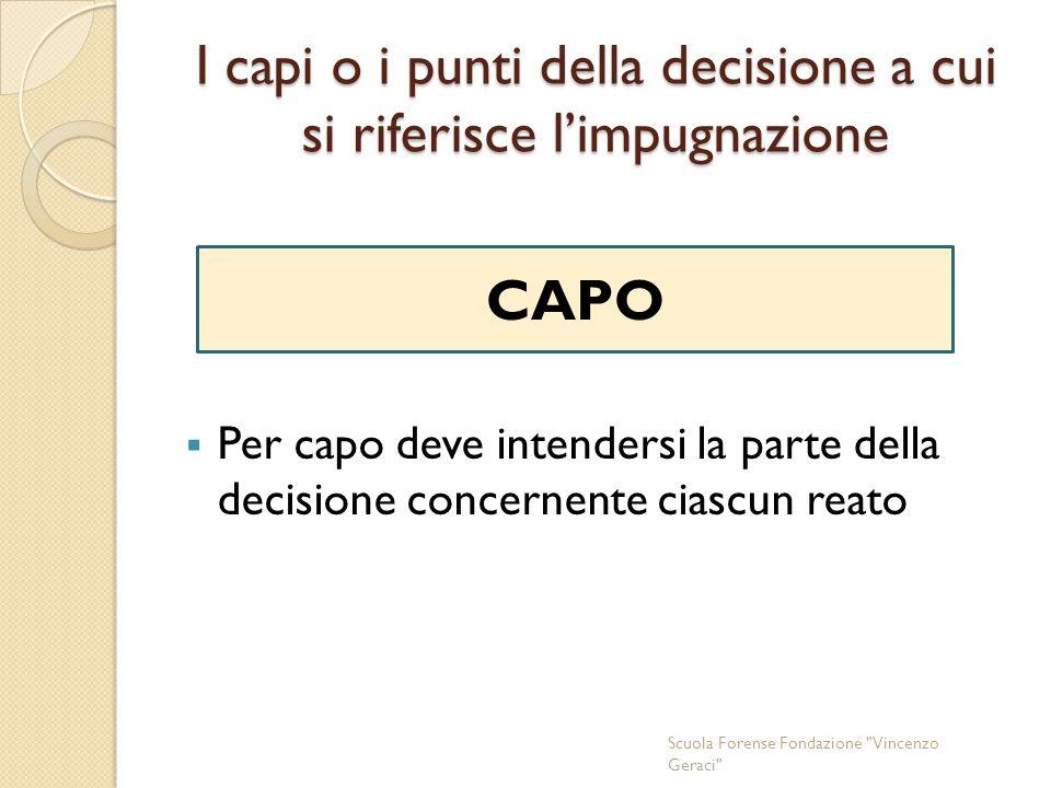 I capi o i punti della decisione a cui si riferisce l'impugnazione