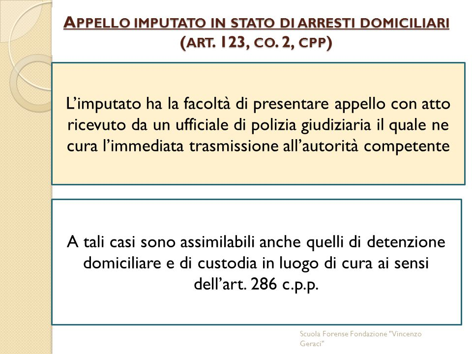 Appello imputato in stato di arresti domiciliari (art. 123, co. 2, cpp)