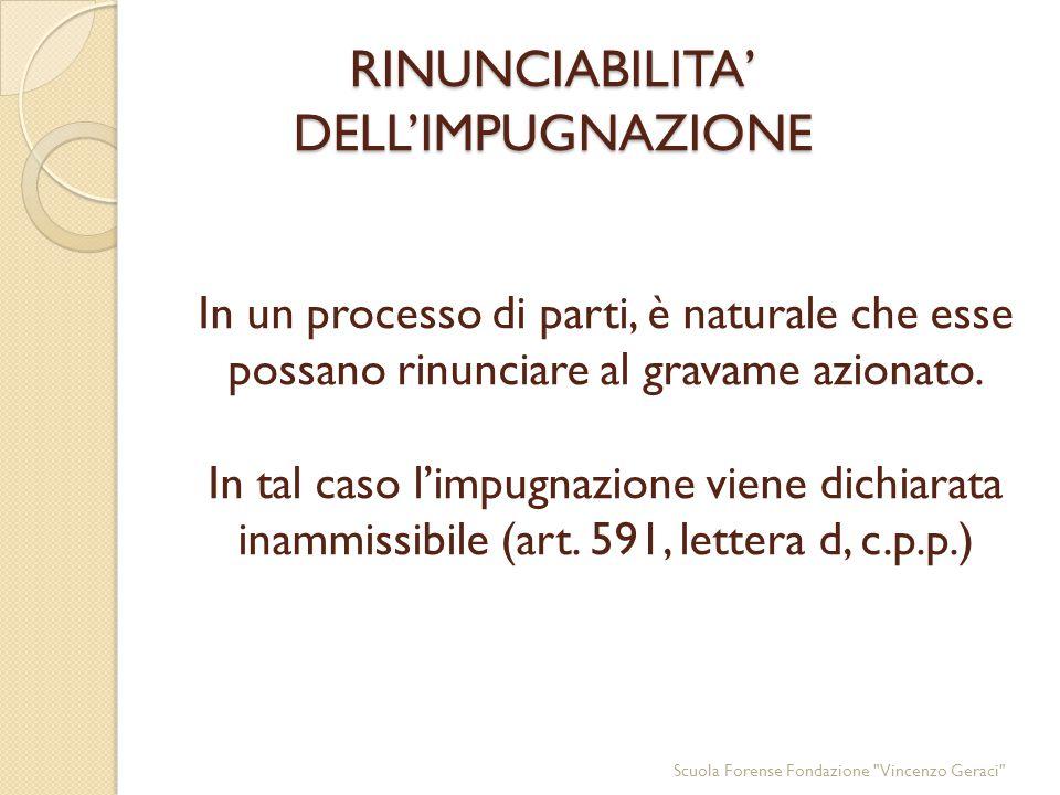 RINUNCIABILITA' DELL'IMPUGNAZIONE