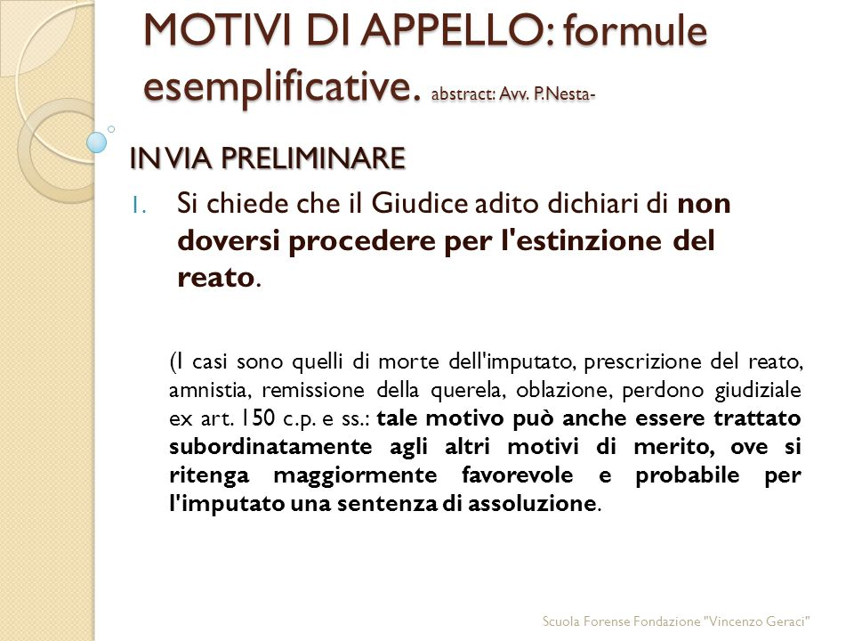 MOTIVI DI APPELLO: formule esemplificative. abstract: Avv. P.Nesta-