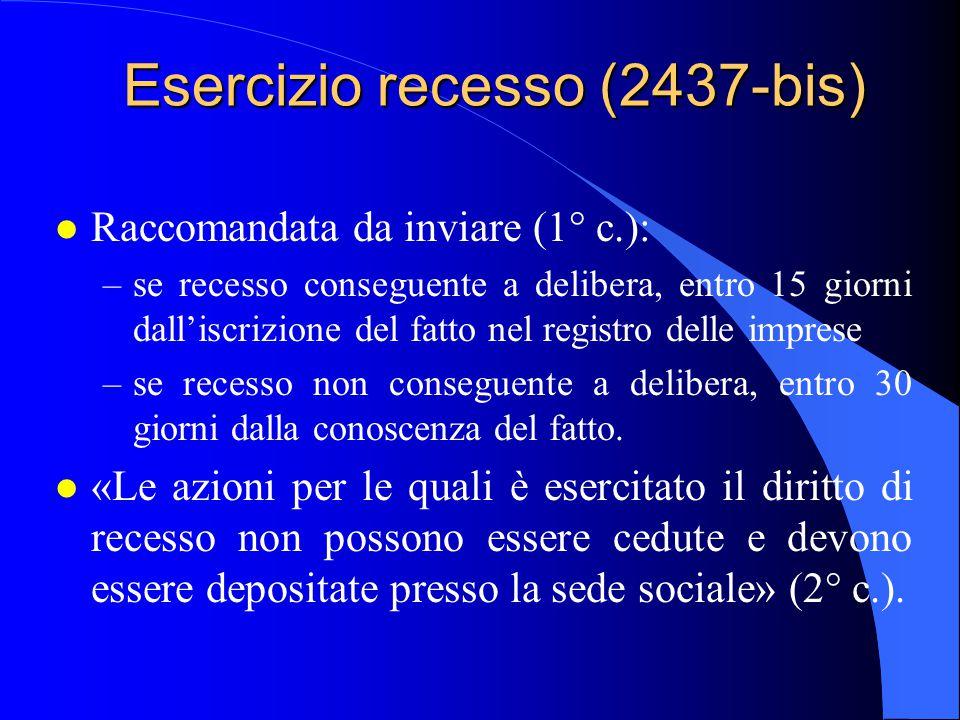 Esercizio recesso (2437-bis)