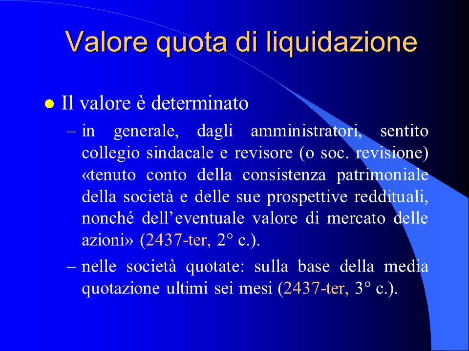 Valore quota di liquidazione