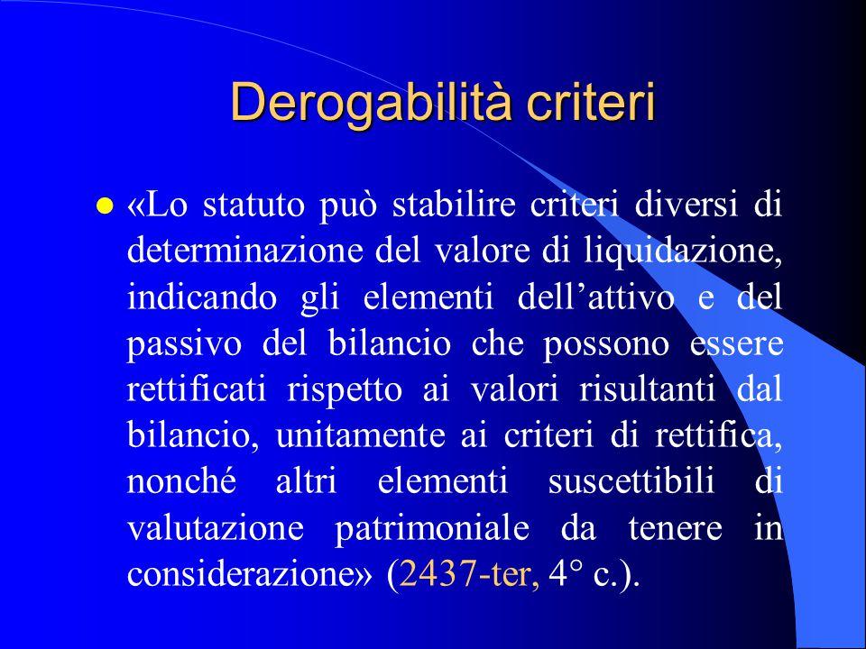Derogabilità criteri