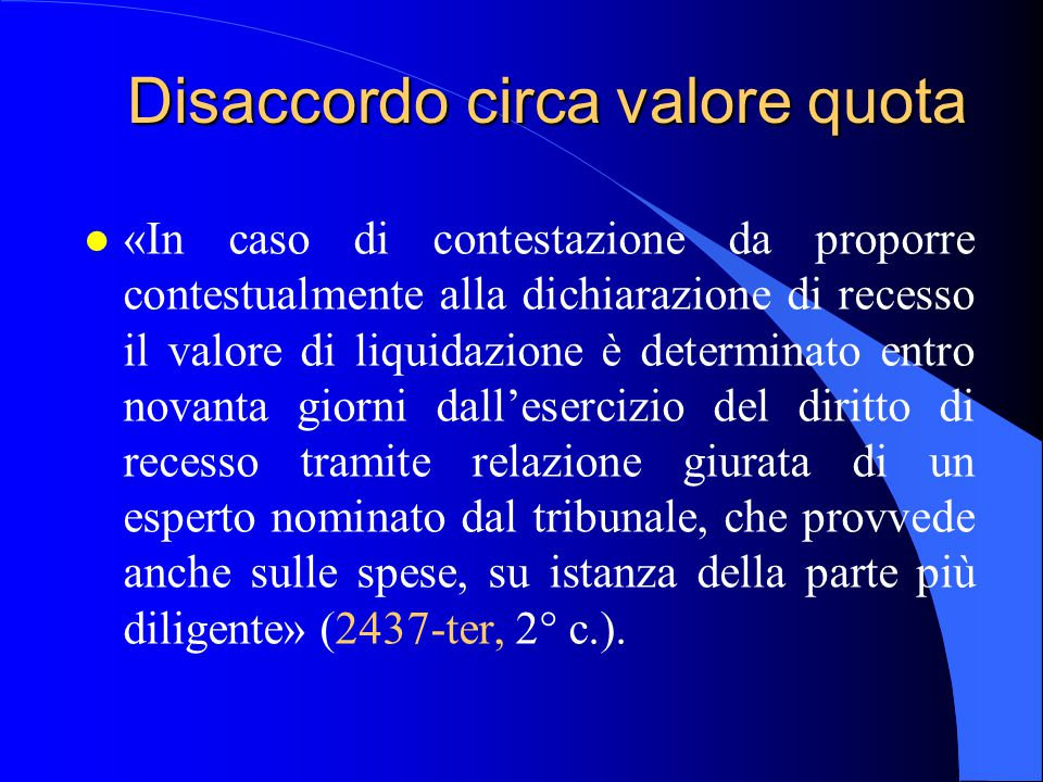 Disaccordo circa valore quota