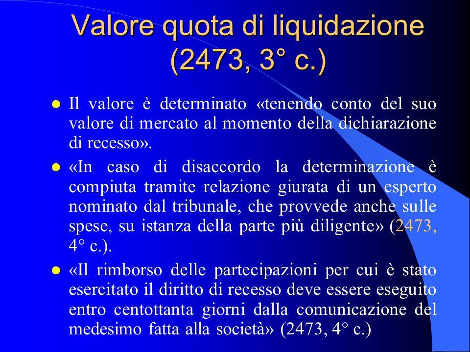 Valore quota di liquidazione (2473, 3° c.)
