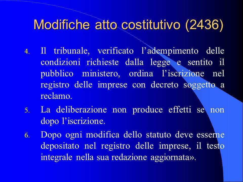 Modifiche atto costitutivo (2436)