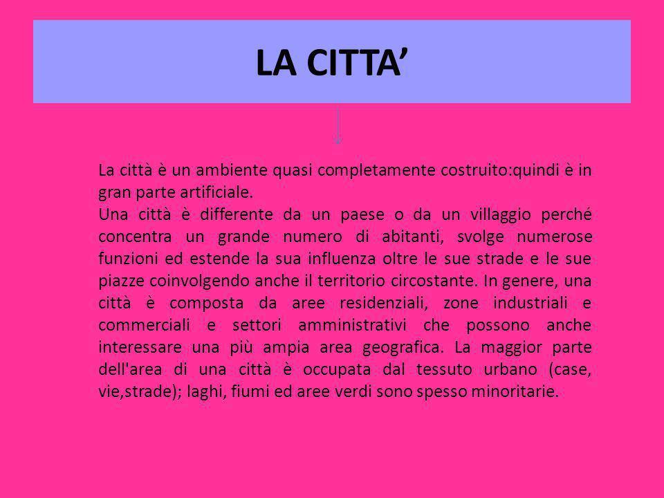 LA CITTA' La città è un ambiente quasi completamente costruito:quindi è in gran parte artificiale.