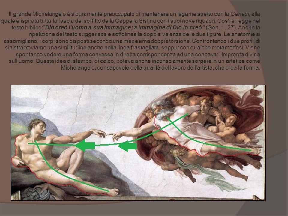 Il grande Michelangelo è sicuramente preoccupato di mantenere un legame stretto con la Genesi, alla quale è ispirata tutta la fascia del soffitto della Cappella Sistina con i suoi nove riquadri.