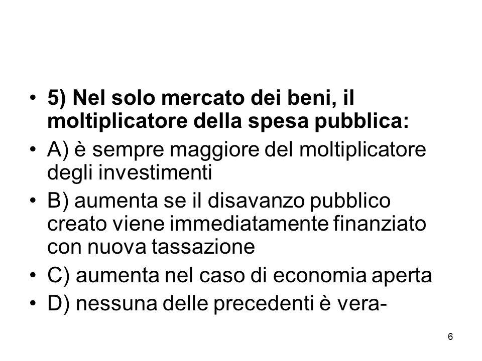 5) Nel solo mercato dei beni, il moltiplicatore della spesa pubblica: