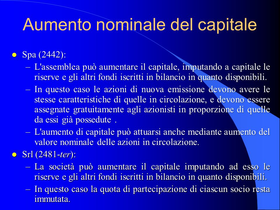 Aumento nominale del capitale