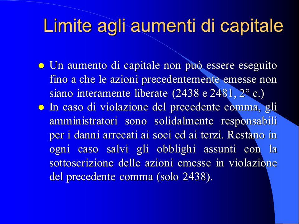 Limite agli aumenti di capitale