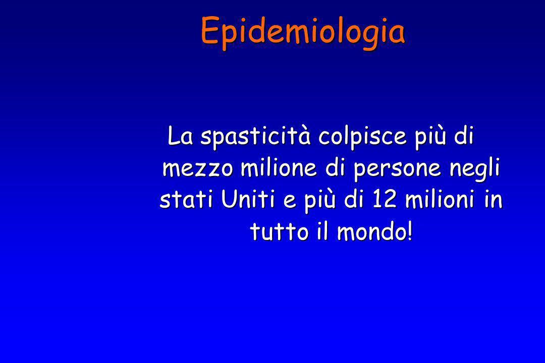 Epidemiologia La spasticità colpisce più di mezzo milione di persone negli stati Uniti e più di 12 milioni in tutto il mondo!