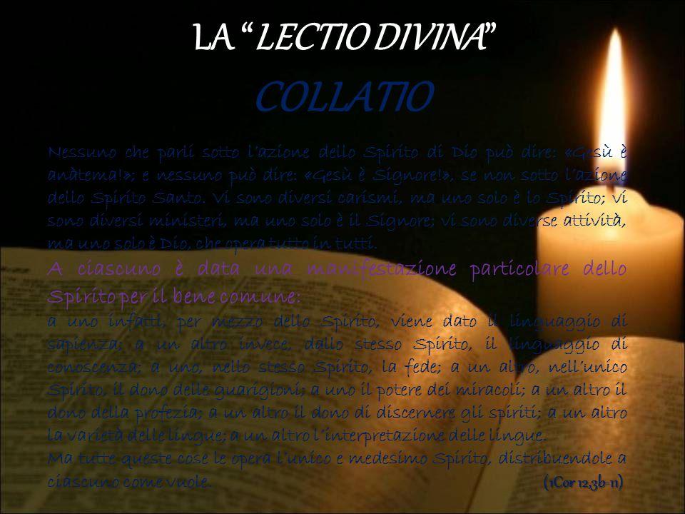 COLLATIO LA LECTIO DIVINA