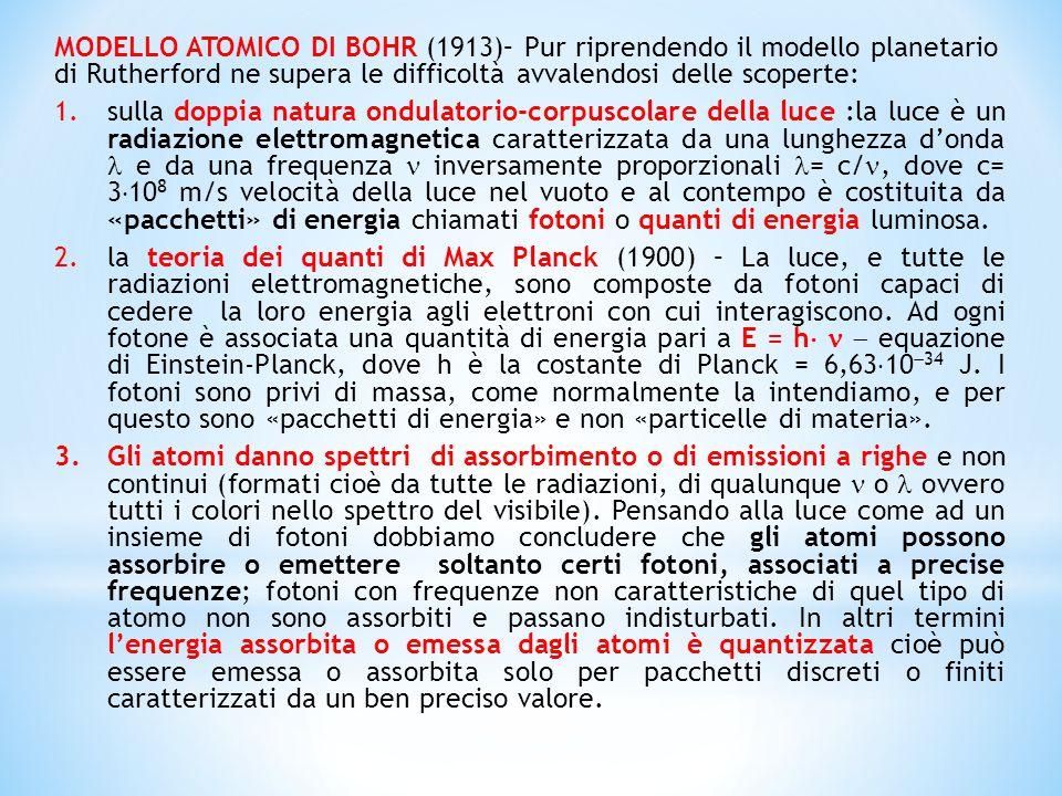 MODELLO ATOMICO DI BOHR (1913)– Pur riprendendo il modello planetario di Rutherford ne supera le difficoltà avvalendosi delle scoperte: