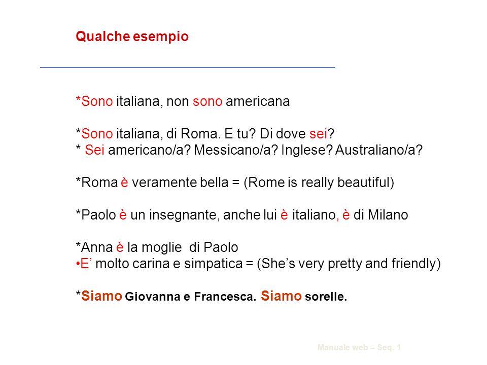 *Sono italiana, non sono americana