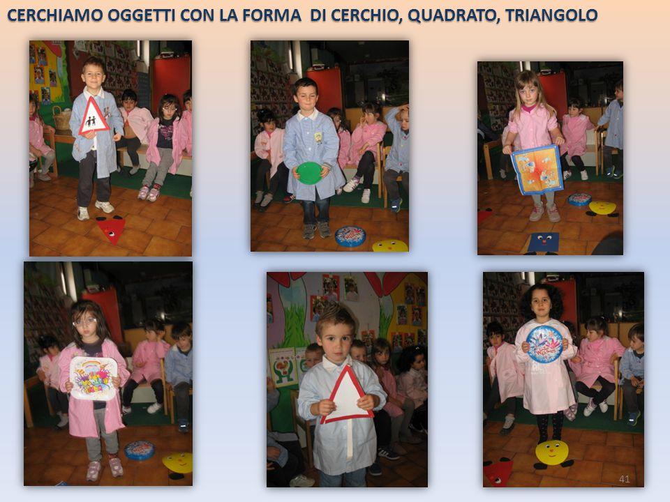 CERCHIAMO OGGETTI CON LA FORMA DI CERCHIO, QUADRATO, TRIANGOLO