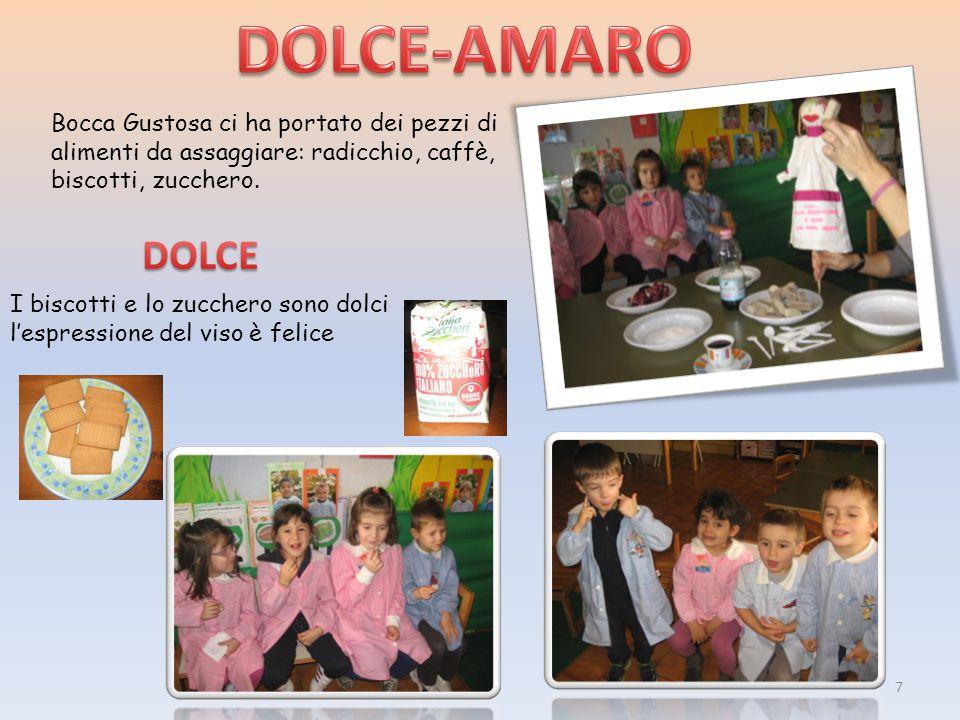 DOLCE-AMARO Bocca Gustosa ci ha portato dei pezzi di alimenti da assaggiare: radicchio, caffè, biscotti, zucchero.