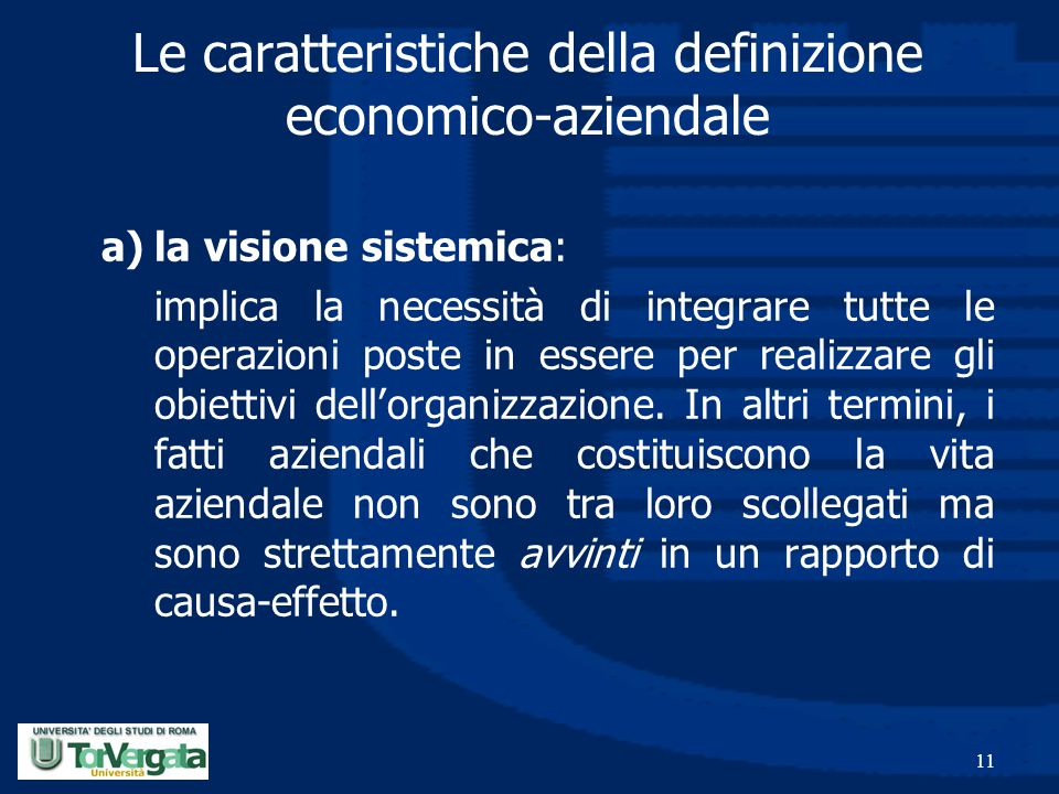 Le caratteristiche della definizione economico-aziendale