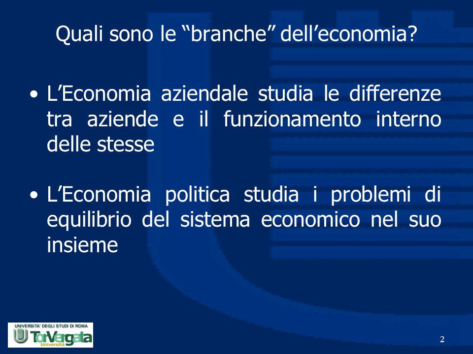 Quali sono le branche dell'economia