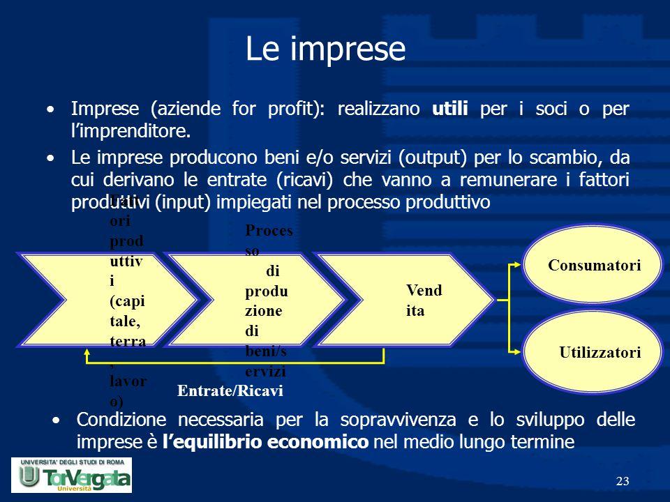 Le imprese Imprese (aziende for profit): realizzano utili per i soci o per l'imprenditore.