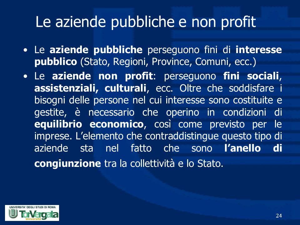 Le aziende pubbliche e non profit