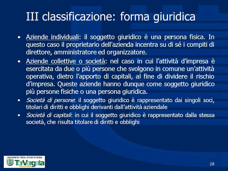 III classificazione: forma giuridica