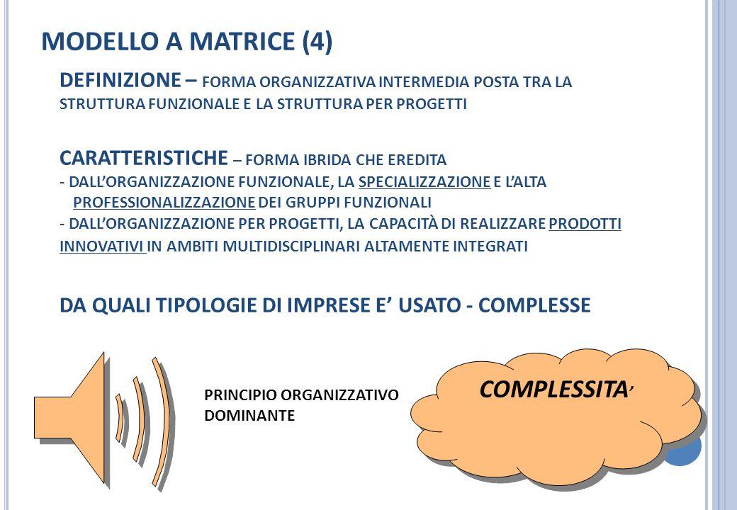 MODELLO A MATRICE (4) COMPLESSITA'