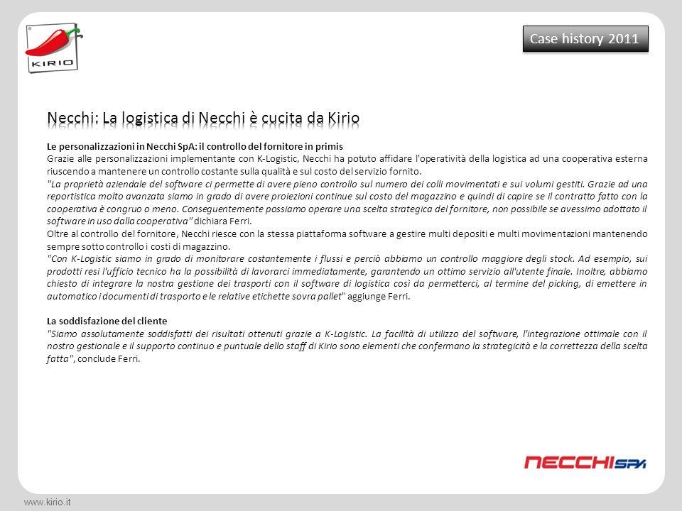 Necchi: La logistica di Necchi è cucita da Kirio