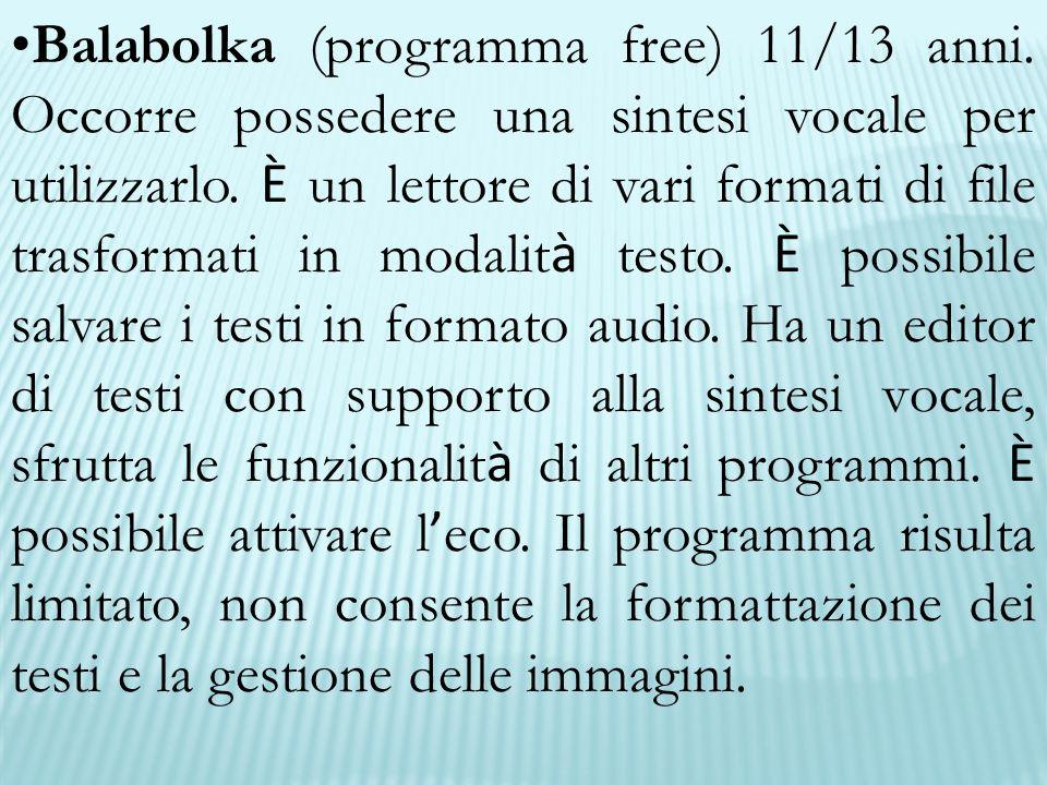 Balabolka (programma free) 11/13 anni