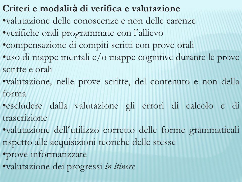 Criteri e modalità di verifica e valutazione