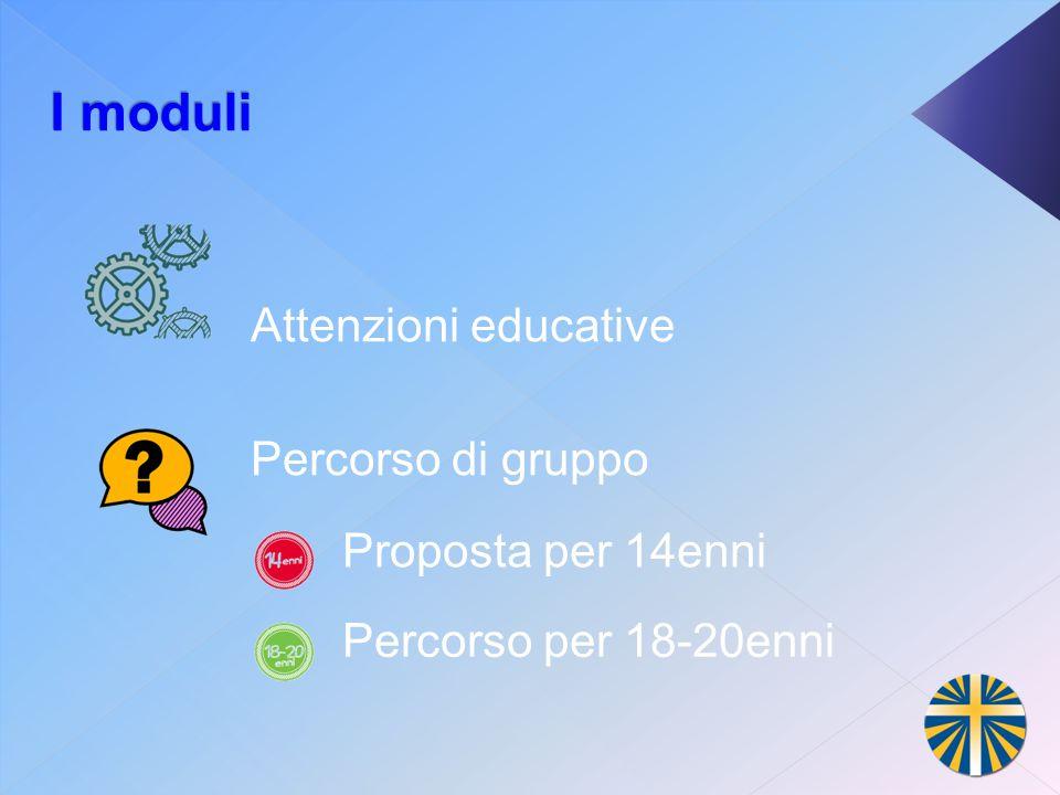 I moduli Attenzioni educative Percorso di gruppo Proposta per 14enni